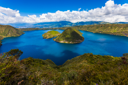Cuicocha, beautiful blue lagoon inside the crater of the Cotacachi volcano 스톡 콘텐츠