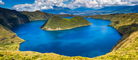 Panoramic of Cuicocha, beautiful blue lagoon inside the crater of Cotacachi volcano