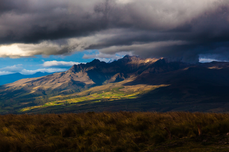 Andean Ecuadorian landscape, where you can see the relief, the fields and the peaks in contrasts of light