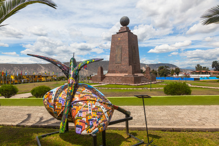 Middle of the World Monument, one of the most visited by tourists from worldwide locations, Quito, Ecuador. 에디토리얼