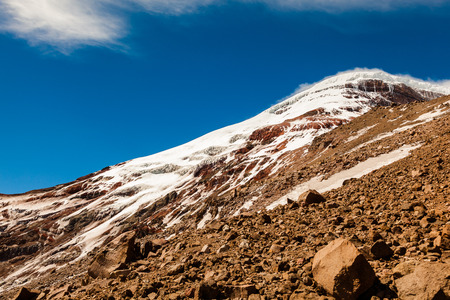 Slopes of Chimborazo volcano on a very windy summer afternoon