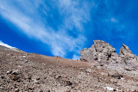 Rock peaks in the Chimborazo volcano. Whymper needles