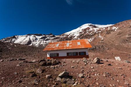 Whymper refuge in the extinct Chimborazo volcano at 5000 meters above sea level