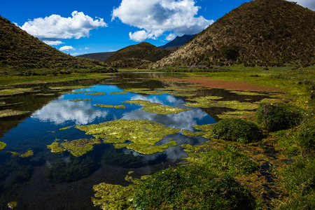 Crystal clear water source with reddish-colored algae, reflecting the blue sky, clouds and nearby hills Stock fotó