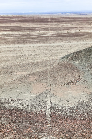 Line of Nazca, at ground level it is appreciated that it is a groove free of stones Banco de Imagens