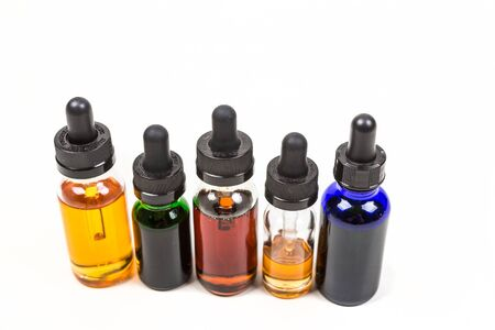 glycol: Flavored vape juice isolated on white background