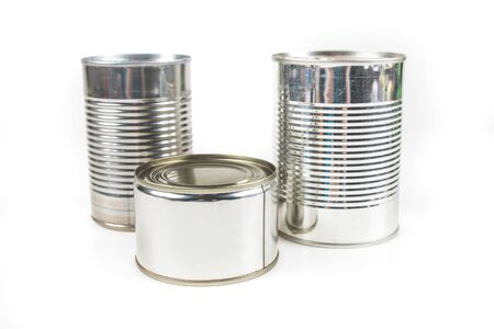 tin cans: Three tin cans isolated on white background Stock Photo