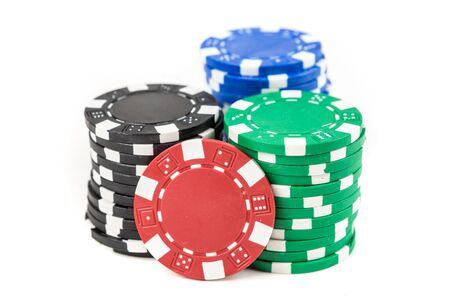 Stacks of poker chips isolated on white background Stok Fotoğraf