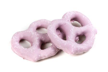 Raspberry yogurt covered pretzels isolated on a white background