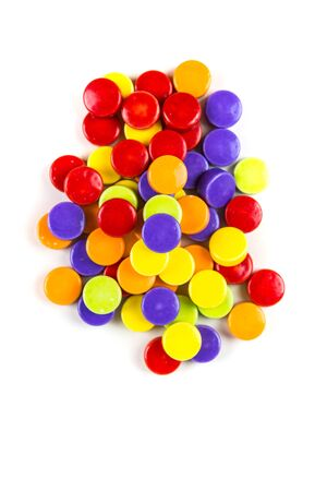 Pile of hard sour candy isolated on a white background