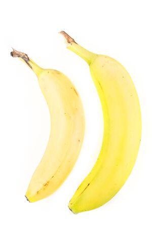 白い背景に分離された 2 つの黄色バナナ 写真素材