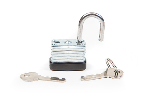 tool unlock: Padlock and keys isolated on white background Stock Photo