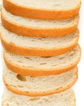 enriched: Slices of whole grain bread isolated on white background