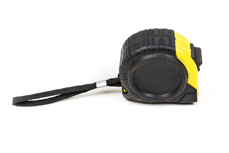 depth measurement: Black and yellow measuring tape isolated on white background