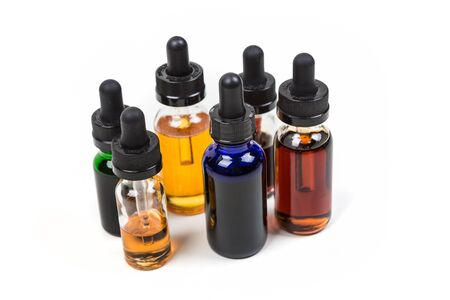 glycol: Assorted flavors of vape juice isolated on white background
