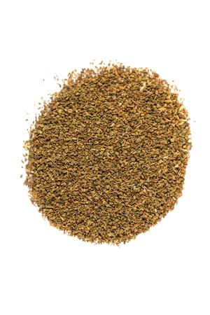 enhancer: Pile of celery seeds isolated on white background