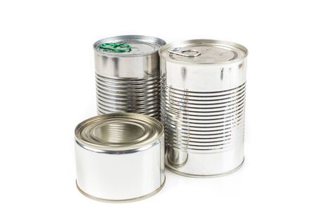 Three tin cans isolated on white background Stock Photo
