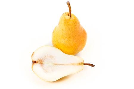 全体の梨と白で隔離カット梨 写真素材