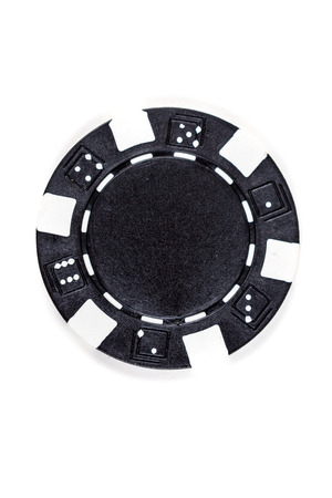 Black poker chip isolated on a white background