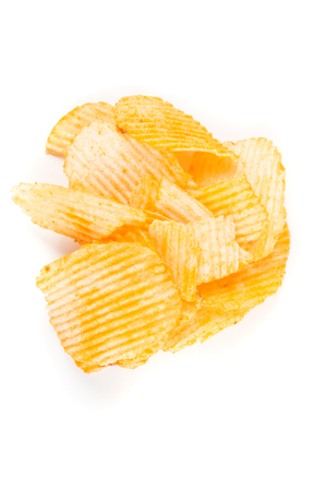 Cheddar sour cream chips isolated on white background Stock Photo