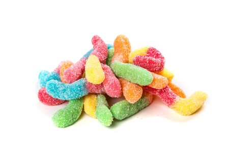 Sour gummy worms isolated on a white background