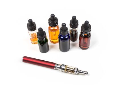dropper: Assorted flavors of vape juice and an ecigarette isolated on white background