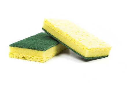 Two cellulose sponges isolated on white background Stock Photo