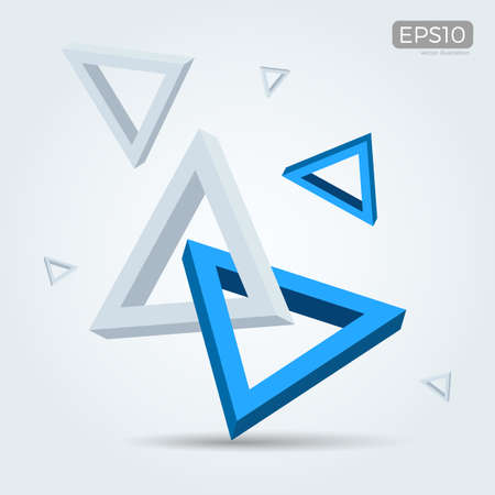 interlocked: Illustration of 3d interlocked triangles in Blue and white Illustration