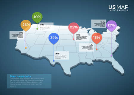 US Map Infographics design vector template illustration. Template for diagram, graph, presentation and chart. Colorful Infographic template. Illustration