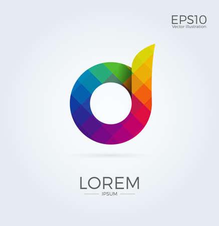 D Letter Logo Icon Mosaic Pattern Design font template