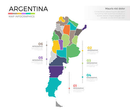 Argentina country map infographic colored vector template with regions and pointer marks