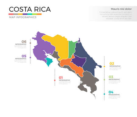 Costa rica country map infographic colored vector template with regions and pointer marks
