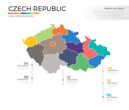Czech republic country map infographic colored vector template with regions and pointer marks