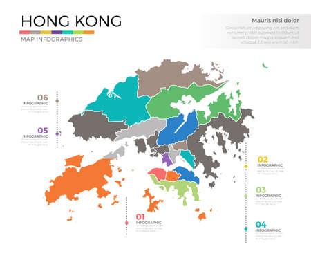 Hong Kong country map infographic colored vector template with regions and pointer marks Иллюстрация