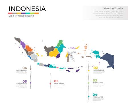 インドネシア国地図インフォグラフィックカラーベクトルテンプレート (領域とポインタマークを含む)