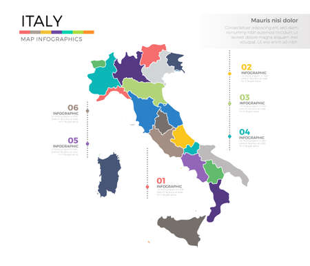 Italy country map infographic colored vector template with regions and pointer marks 일러스트