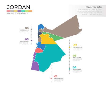Jordanië land kaart infographic gekleurde vector sjabloon met regio's en aanwijzer merken