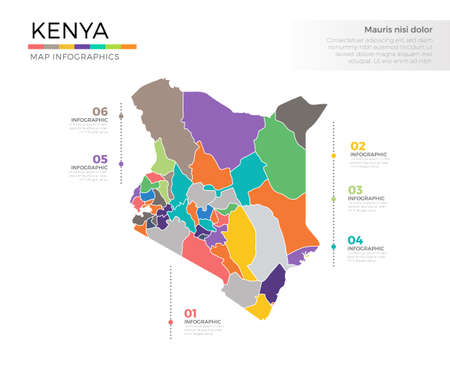 kenya: Kenya country map infographic colored vector template with regions and pointer marks Illustration