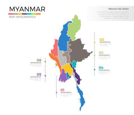 ミャンマー国地図インフォ グラフィック カラー ベクトル テンプレート領域とポインター マーク