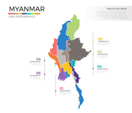 Myanmar country map infographic colored vector template with regions and pointer marks Illustration