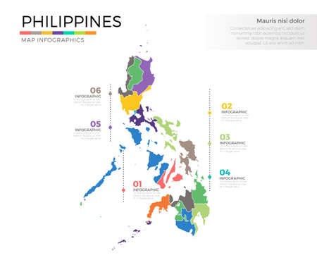Philippines country map infographic colored template with regions and pointer marks