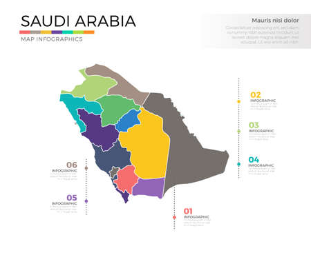 Saudi Arabia country map infographic colored vector template with regions and pointer marks