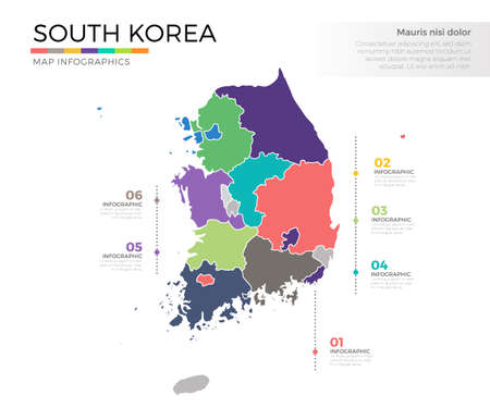 South Korea country map infographic colored vector template with regions and pointer marks