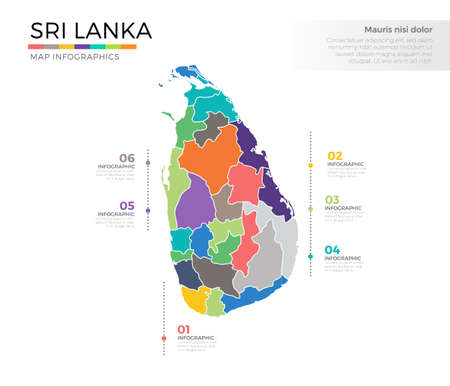 Sri Lanka country map infographic colored vector template with regions and pointer marks