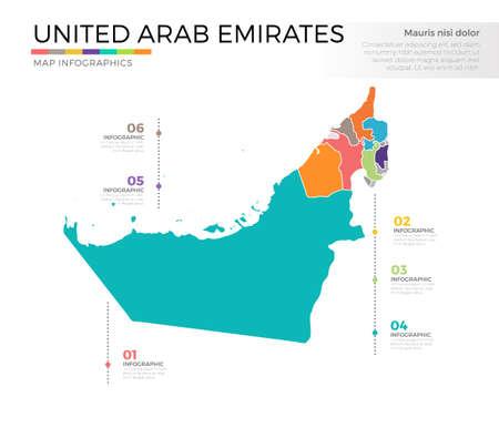 아랍 에미리트 국가지도 infographic 색이 지정된 벡터 서식 파일 영역 및 포인터 표시