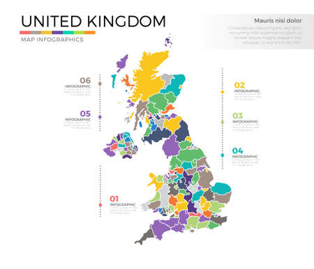 United Kingdom country map infographic colored vector template with regions and pointer marks