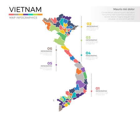 Vietnam country map infographic colored template with regions and pointer marks