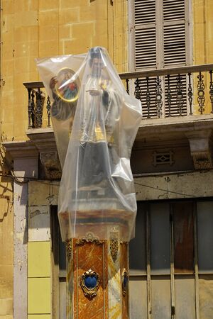 August 14th 2018, Malta, Gozo: Saint figure for catholic procession wrapped in foil