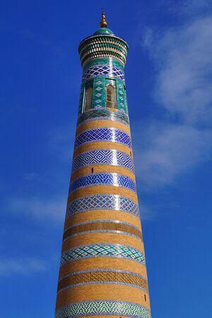 Ornate minaret in Khiva Uzbekistan