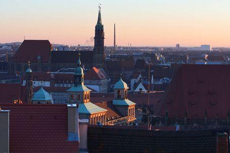 Winter panorama of Nuremberg at sunset